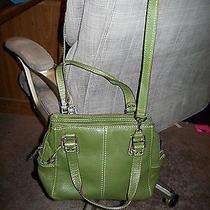 Fossil Green Leather Shoulder Tote  Handbag Purse Photo