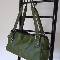Fossil Green Pebbled Leather Tote  Bag Photo