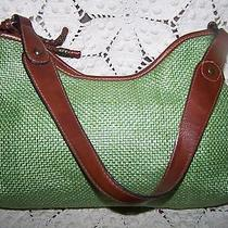 Fossil Green Straw 13in Large Shoulder Purse Photo