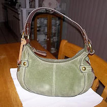 Fossil Green Suede Leather Shoulder Bag Purse Photo