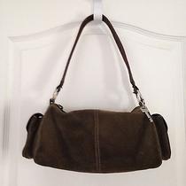 Fossil Green Suede Shoulder Bag Handbag Purse Photo