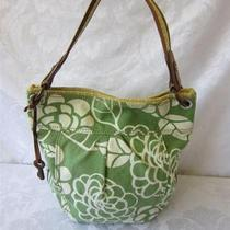 Fossil Green/yellow Floral Canvas/leather Bucket Shoulder Bag Photo