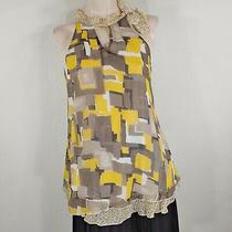 Fossil Halter Top Tie Neckline Yellow and Gray Layered Hem Lined Flowy Romantic Photo