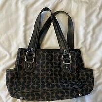Fossil Handbag Brown/black Signature Canvas Satchel Shoulder Bag Purse Photo