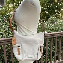 Fossil Handbag Gray Leather Messenger Crossbody Bucket Photo