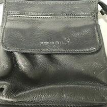 Fossil Handbag Leather Crossbody Black String Wallet  Photo