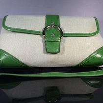 Fossil Handbag New With Tag Green Woven Material With Green Leather Trip. Photo
