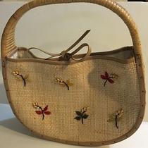 Fossil Handbag Purse Straw Summer Bag Embellished Small  Photo