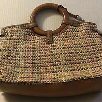 Fossil Handbag Purse Tweed Wood Handles Compartmented Photo