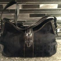 Fossil  Handbag Purse With Leather Handles and Trim Black New Photo