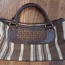 Fossil Handbag Purse Zb 2275 Modern Vintage Stripe Brown Woven Leather Straw Photo