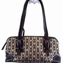 Fossil Handbag Signature Shoulder Bag Purse Black Gray Canvas Leather Medium Photo