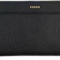 Fossil Handbag Wallet Leather Purse Black Clutch Organizer Zip Around Photo