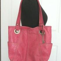 Fossil Hathaway Pink Leather Shoulder Bag Medium Shopper Tote  Photo