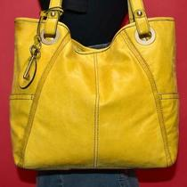 Fossil Hathaway Yellow Glazed Leather Tote Carryall Purse Shoulder Shopper Bag Photo