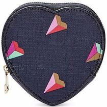 Fossil Heart Coin Zip Gem Leather Navy Blue Mini Wallet New Nwt 45 Cute Hearts Photo