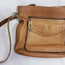 Fossil Hobo Handbag Brown Leather Shoulder Bag Purse Key 11.5x10.5x4 Photo