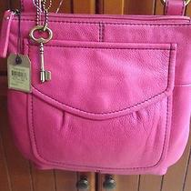 Fossil Hot Pink ( Fuchsia )leather Modern Cargo Organizer Crossbody Nwt Photo