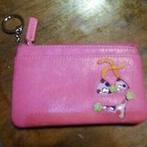 Fossil Hot Pink Leather Zip Coin Purse Card Holder Wallet W/swimsuit Motif Photo