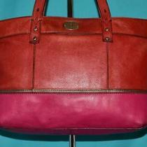 Fossil Hunter Red Pink Pebbled Leather Shoulder Tote Carryall Shopper Purse Bag Photo