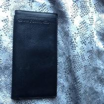 Fossil Id Credit Card Check Book Holder Black Leather  Photo