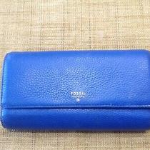 Fossil Issue No 1954 Blue Pebble Leather Wallet Free Shipping  Photo
