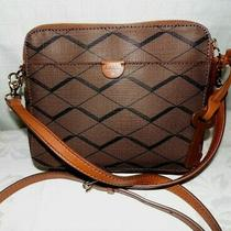 Fossil Issue No 1954 Coated Canvas Double Zip Crossbody-Brown Black Stripe  Photo