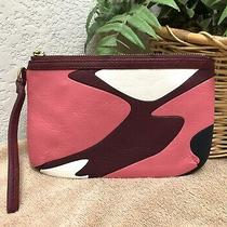 Fossil Issue No 1954 Pink Leather Wristlet Clutch Pouch Zip Top Abstract Exc Photo