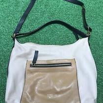 Fossil Issue No 1954 Two Tone Tan Brown Leather Satchel Tote / Cross-Body Bag Photo