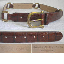 Fossil Italian Women's Belts Leather Croco Brown Brass D Small S (27) Photo