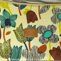 Fossil Ivory/blue Floral Key-Per Coated Canvas Cosmetic Tote (1) Photo