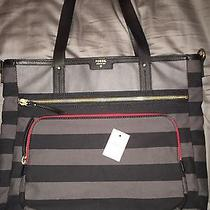 Fossil Ivy Large Tote Black and Gray Stripes- Red Accent- Out of Stock Htf Photo