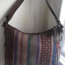 Fossil Jacquard Canvas Multi Color Zip Top Hobo Shoulder Bag Photo
