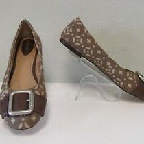 Fossil Jacquard Signature Buckle Toe Leather Flats Womens 8.5  Photo