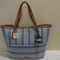 Fossil Jeannie Beach Tote Zb7744 Blue and White Canvas/ Leather Handle Nwt ret.1 Photo
