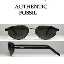 Fossil Jeff Gunmetal-Tone Metal Sunglasses W/gray Lenses Flex-Hinged Under 30 Photo