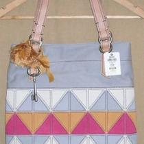 Fossil Jesse Fabric/suede Patchwork Large Tote Shopper Shoulder Bag Nwt New Photo