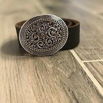 Fossil Jeweled Oval Belt Buckle Brown Genuine Leather Small Country Western Boh Photo