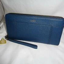 Fossil Jori Zip Clutch Twilight Blue Leather Wristlet Rfid Protected Swl2371497 Photo