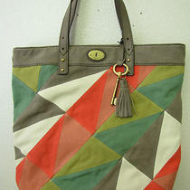 Fossil Jules Tote Bright Patchwork Canvas Handbag Zb4989184 Nwt Photo