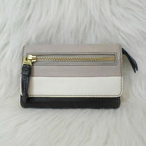 Fossil Karli Clutch Wallet Color Block Gray White Black Cowhide Leather  Photo