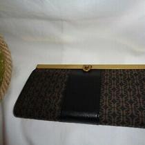 Fossil Kayla Clutch Black Brown Framed Wallet Push Lock Sl7892015 Jacquard  Photo