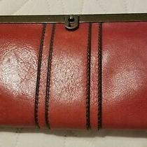 Fossil Kayla Frame Clutch Wallet Red Euc Photo