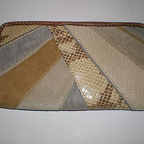Fossil Kenya Patchwork Clutch Neutral & Cognac Leather Wallet Nwt Photo