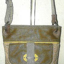 Fossil Key Beige Tan Olive Quilted Crossbody Messenger Shoulder Bag 12x11 New Photo
