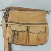 Fossil Key Long Live Vintage Crossbody Messenger Brown Cow Leather Handbag A8 Photo