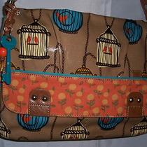 Fossil Key Per Bird Cage Coated Canvas Messenger Crossbody Tote Bag Nwt Photo