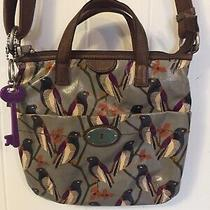 Fossil Key Per Black Bird Gray Coated Canvas Messenger Crossbody Purse Bag Mint Photo