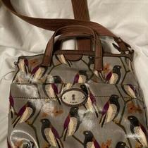 Fossil Key Per Black Bird Gray Coated Canvas Messenger Crossbody Handbag Photo