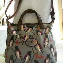 Fossil Key Per Black Bird Messenger Convertible Handbag Coated Canvas & Leather  Photo